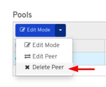 Click Delete peer