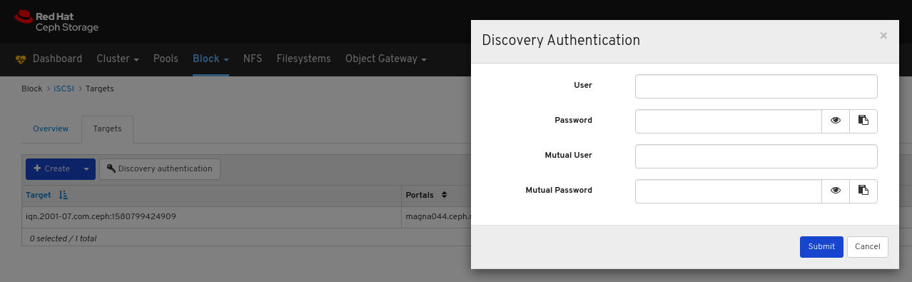 Discovery Authentication ウィンドウ