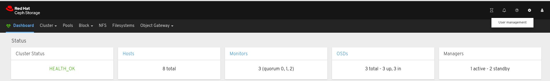 ユーザー管理をクリック