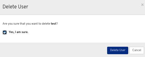 Delete user ウィンドウ