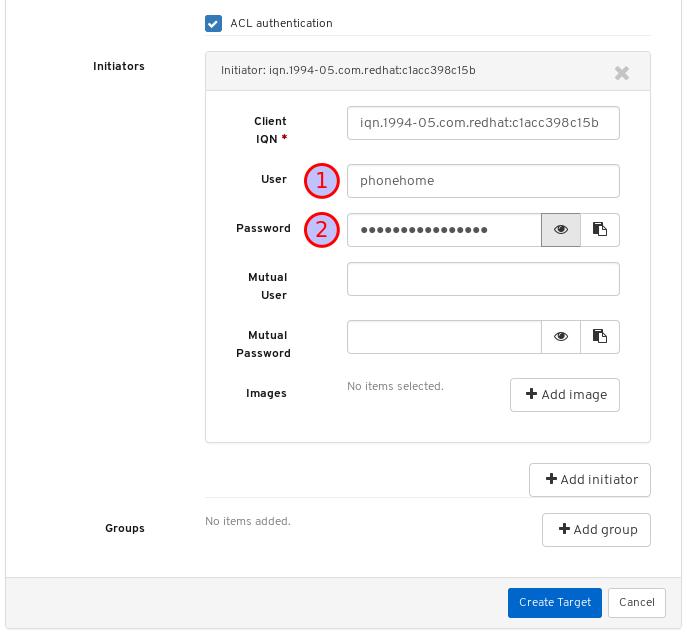 イニシエーターユーザー名およびパスワードの追加