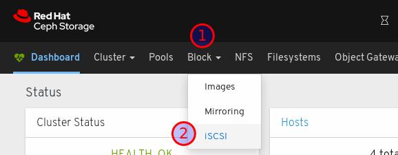 ブロックをクリックしてから iSCSI をクリック