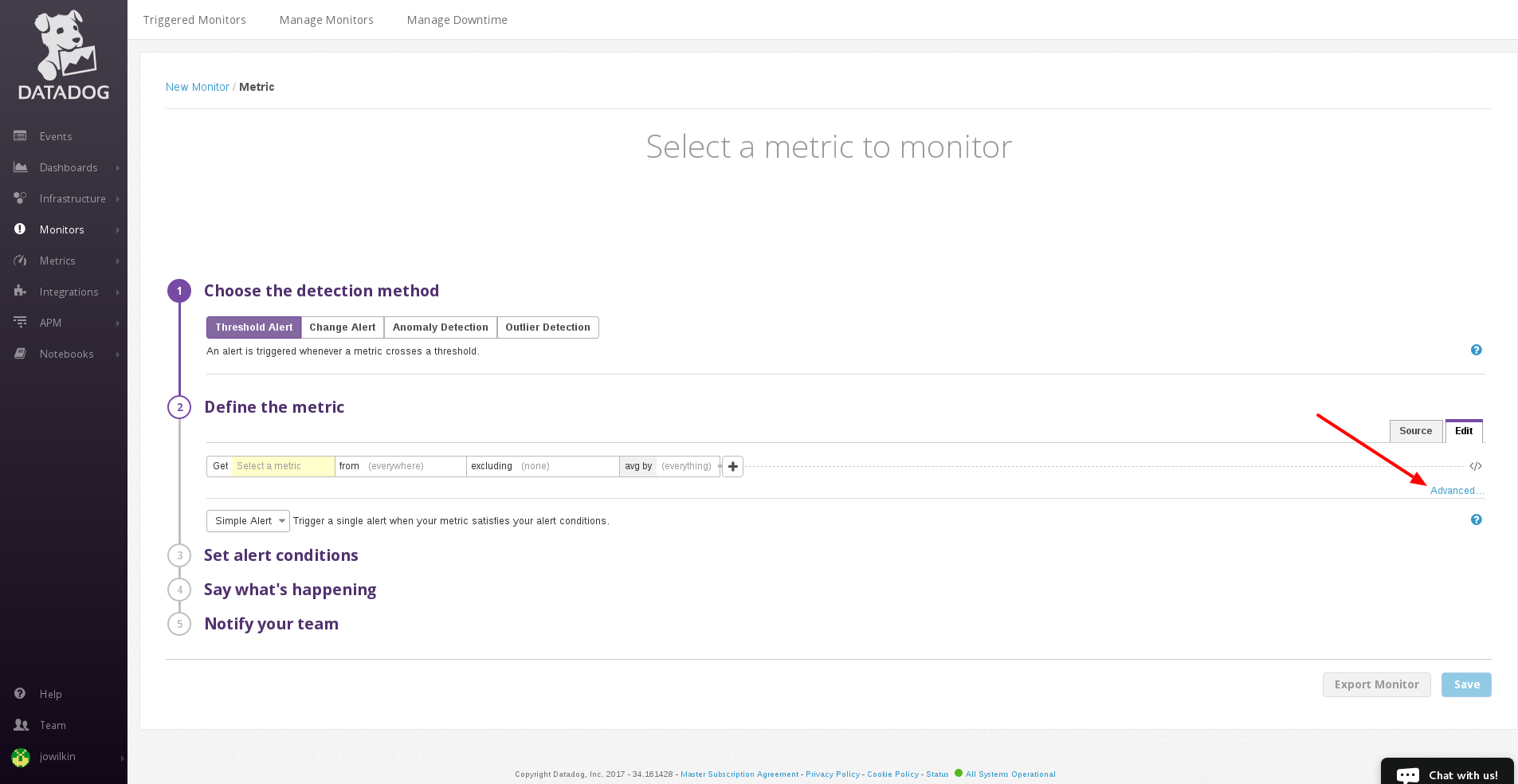 datadog new monitor