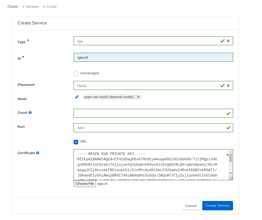 Creating Ceph Object Gateway service