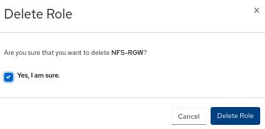 Delete role window