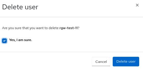 Ceph object gateway delete user