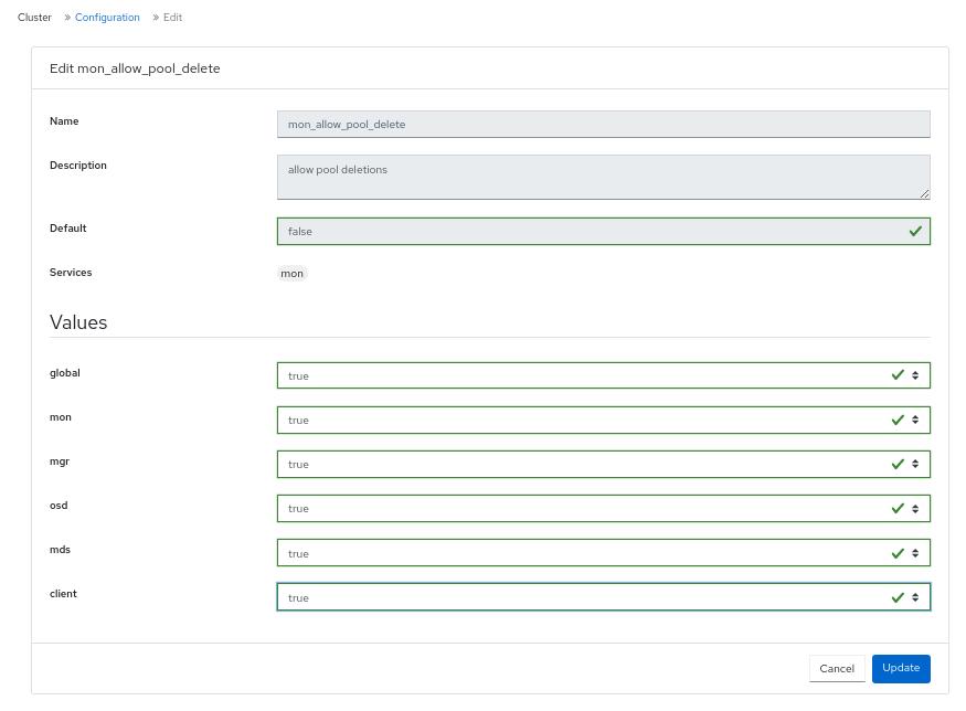 Edit Configuration to delete pools