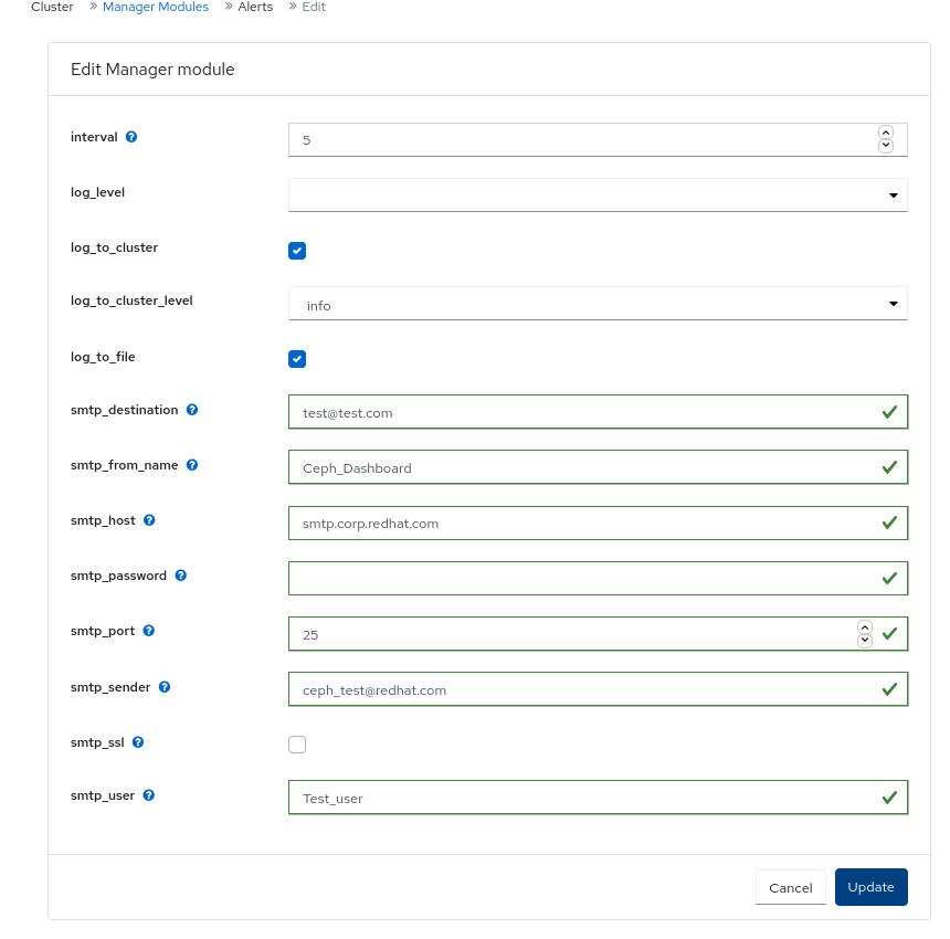 Edit Manager module for alerts