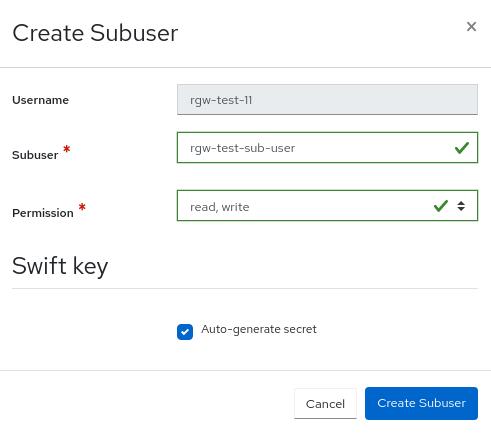 Ceph object gateway create subuser