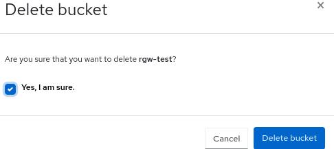 Ceph object gateway delete bucket