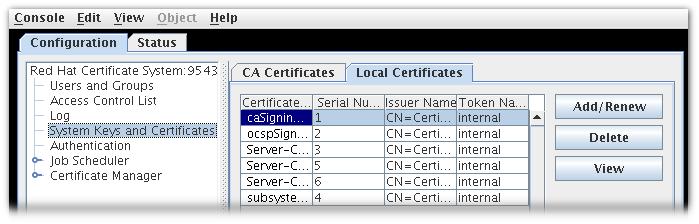 Certificate Database Tab