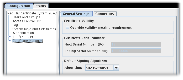 The General Settings Tab in non-subordinate CAs by default