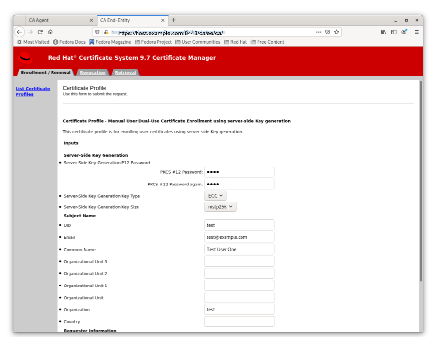 Server-Side Keygen Enrollment that requires agent manual approval
