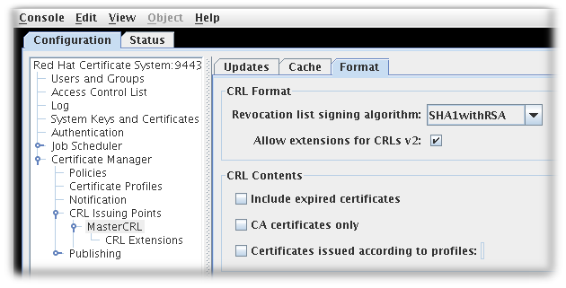 CRL Format Tab