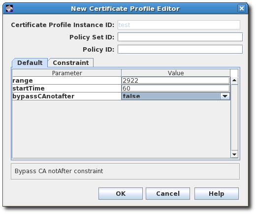 CA Validity Default Configuration