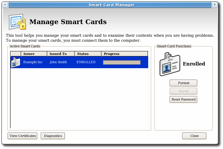 Manage Smart Cards Page