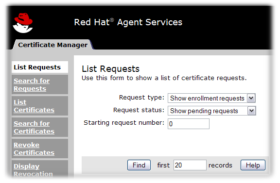 Certificate Manager's Agent Services Page