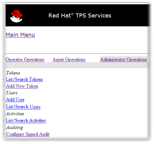 TPS Admin Page