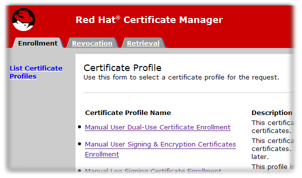 Certificate Manager's End-Entities Page
