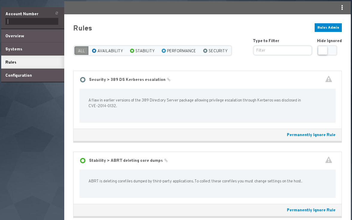 RH access insights rules