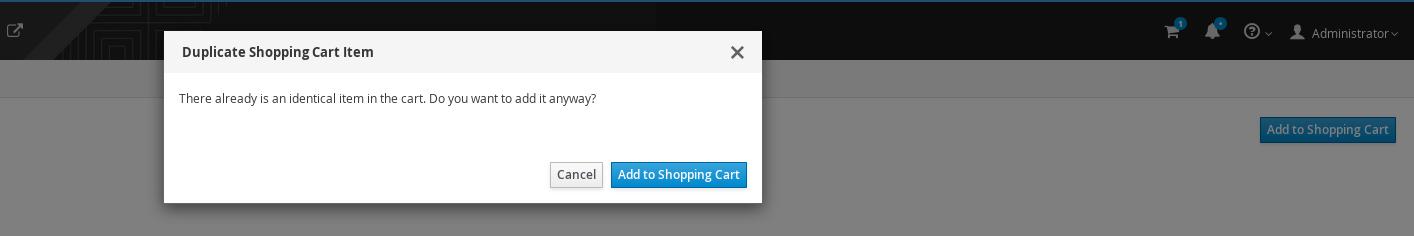Duplicate Item in the Shopping Cart