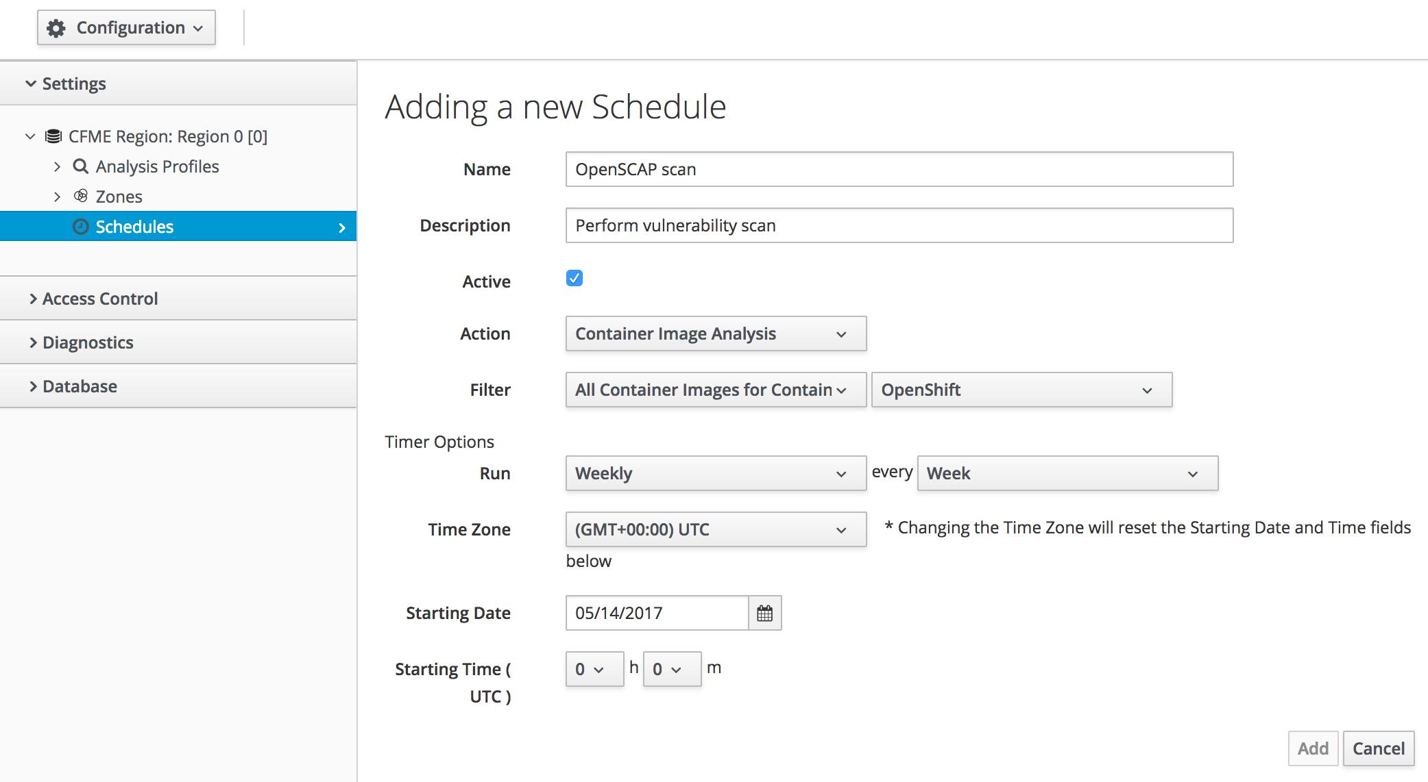 schedule openscap scan