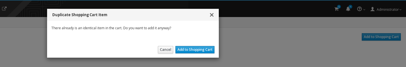 Duplicate Item in the Shopping Cart