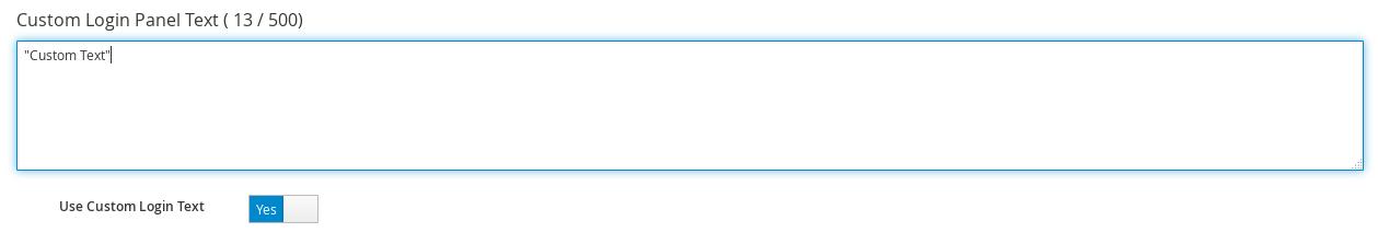 custom login panel text