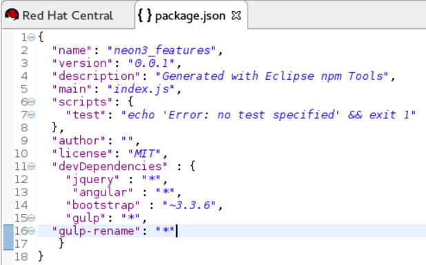package.json File with Gulp Enabled