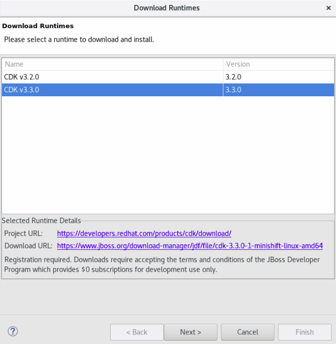 Selecting the CDK Version for Download