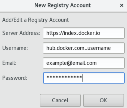 Entering Details for the New Registry Account