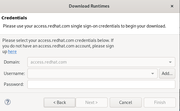 crs enter redhat credentials