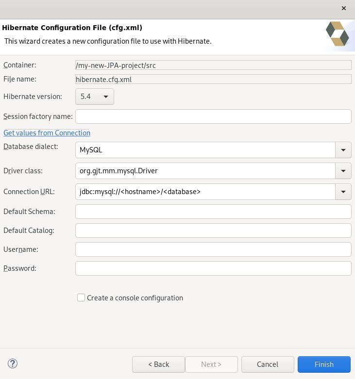 crs hibenate config file creation