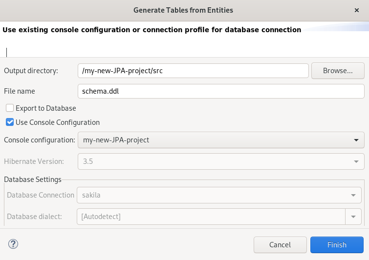 crs generating tables from entities