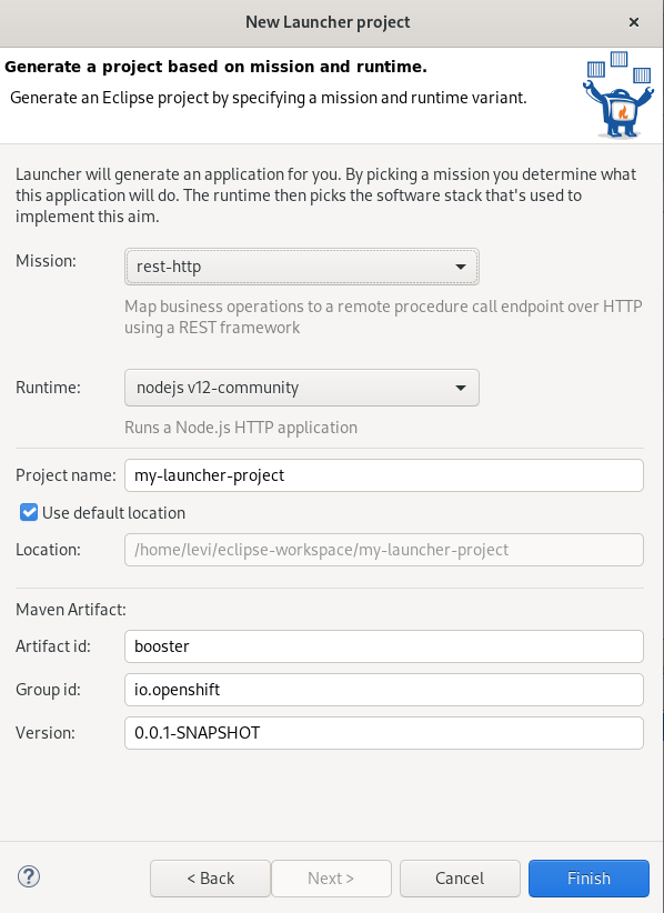 crs launcher project creation