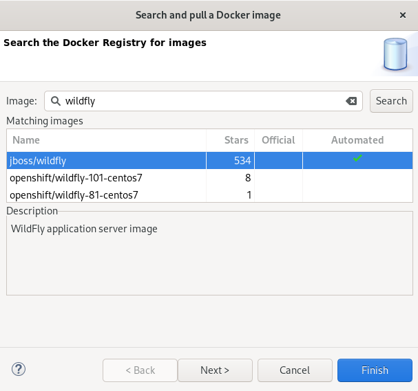 crs docker pulling wildfly image