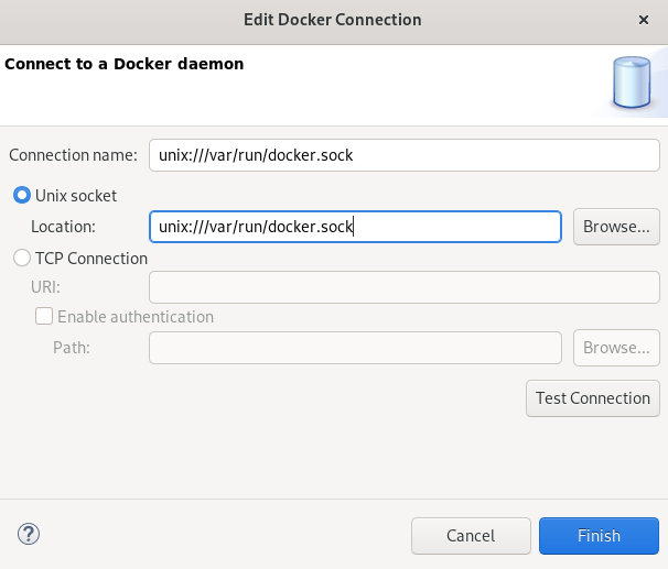 crs docker testing connection