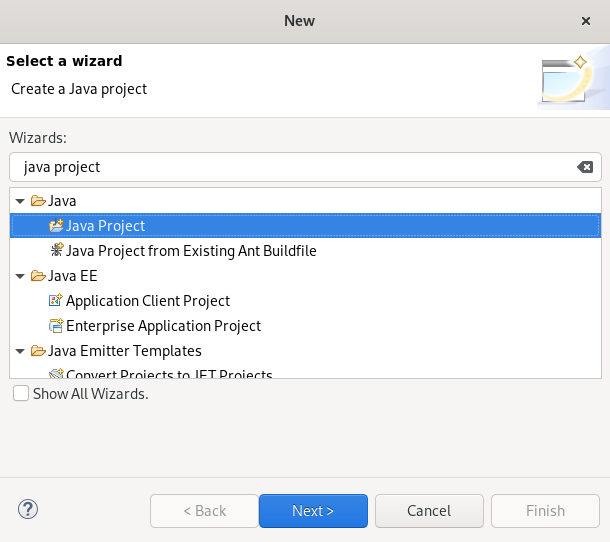 crs java project wizard