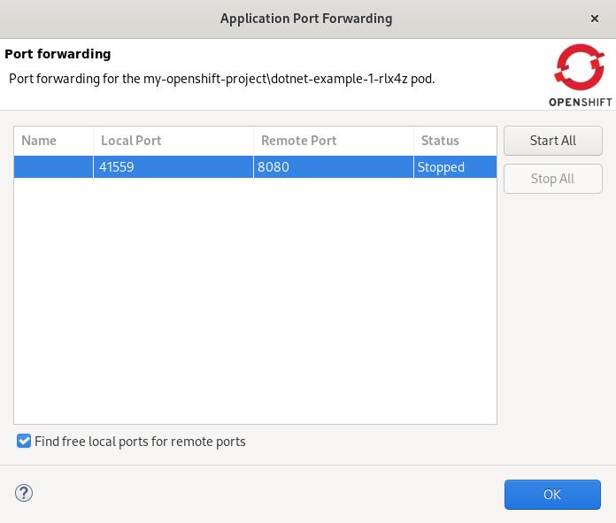 crs start port forwarding