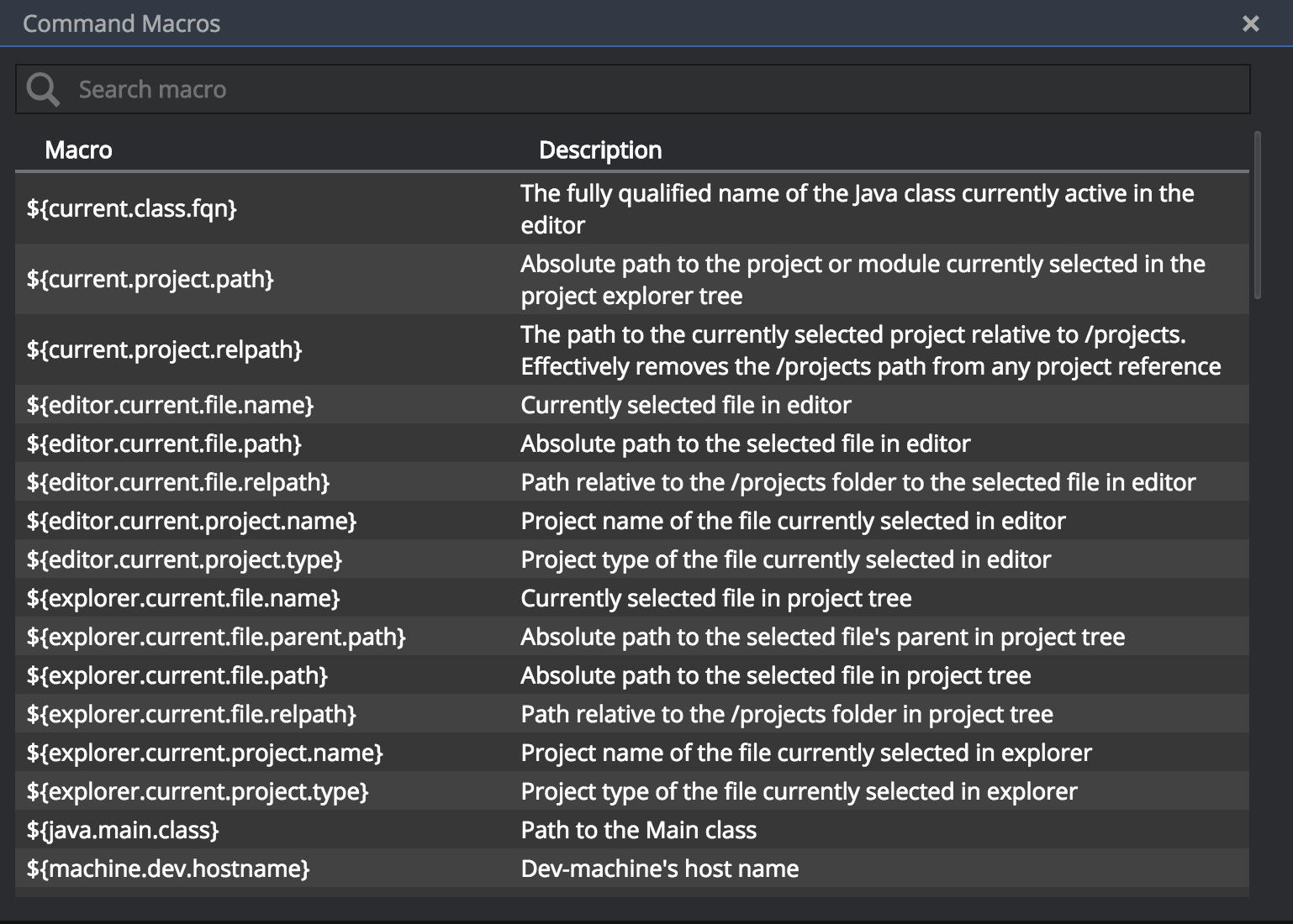 command macros list