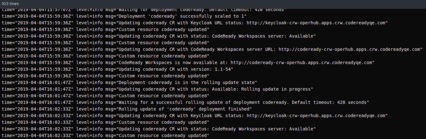 CodeReady Operator pod shown running