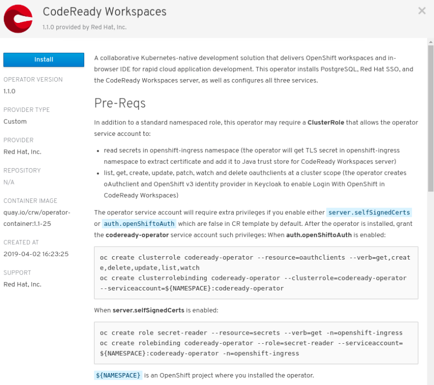 Install button on the CodeReady Workspaces 1.1.0 window