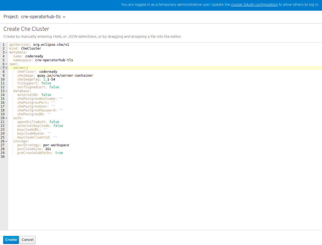 Clicking Create to create the Che cluster
