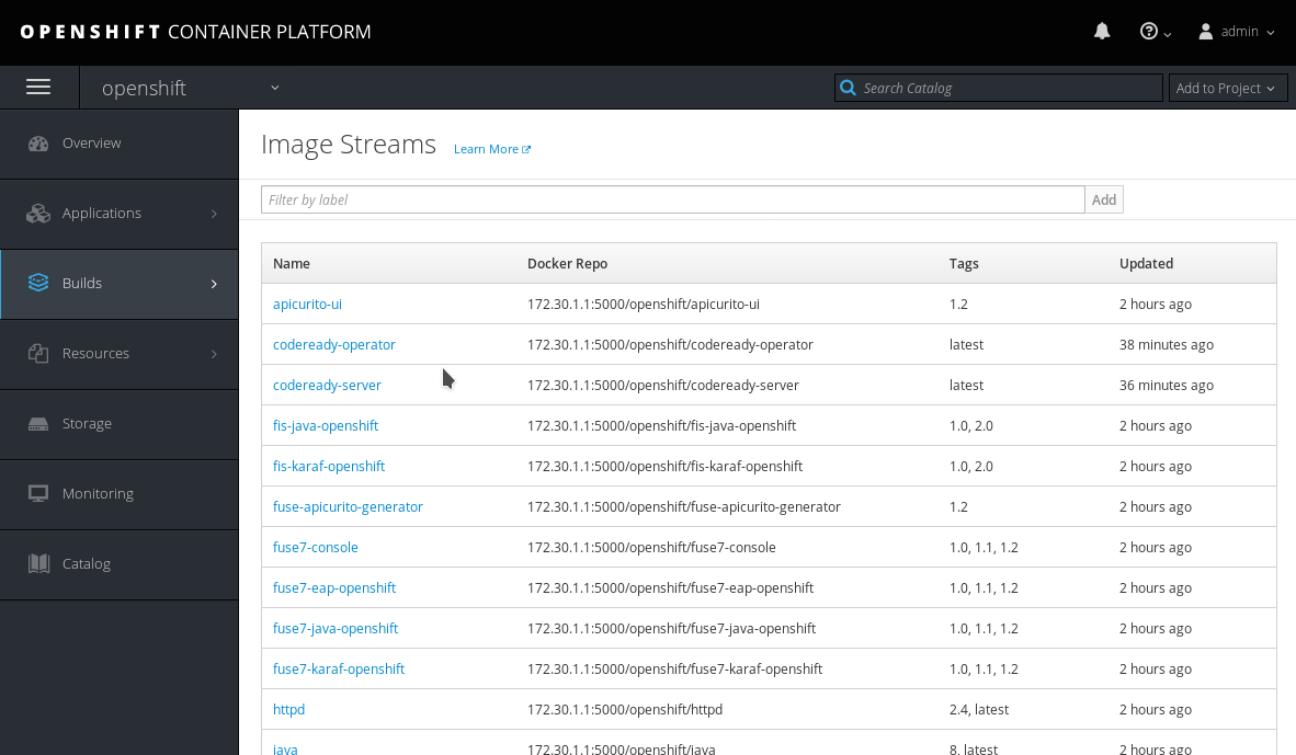 codeready image streams in the OpenShift registry