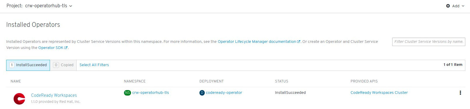 Installed Operators on OperatorHub