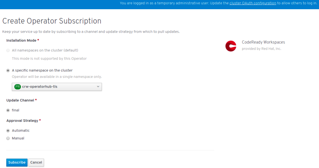 Selections in the Create Operator Subscription window