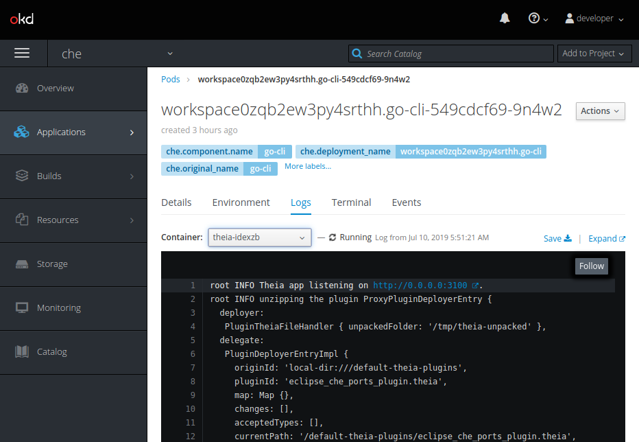 viewing theia ide logs on the console