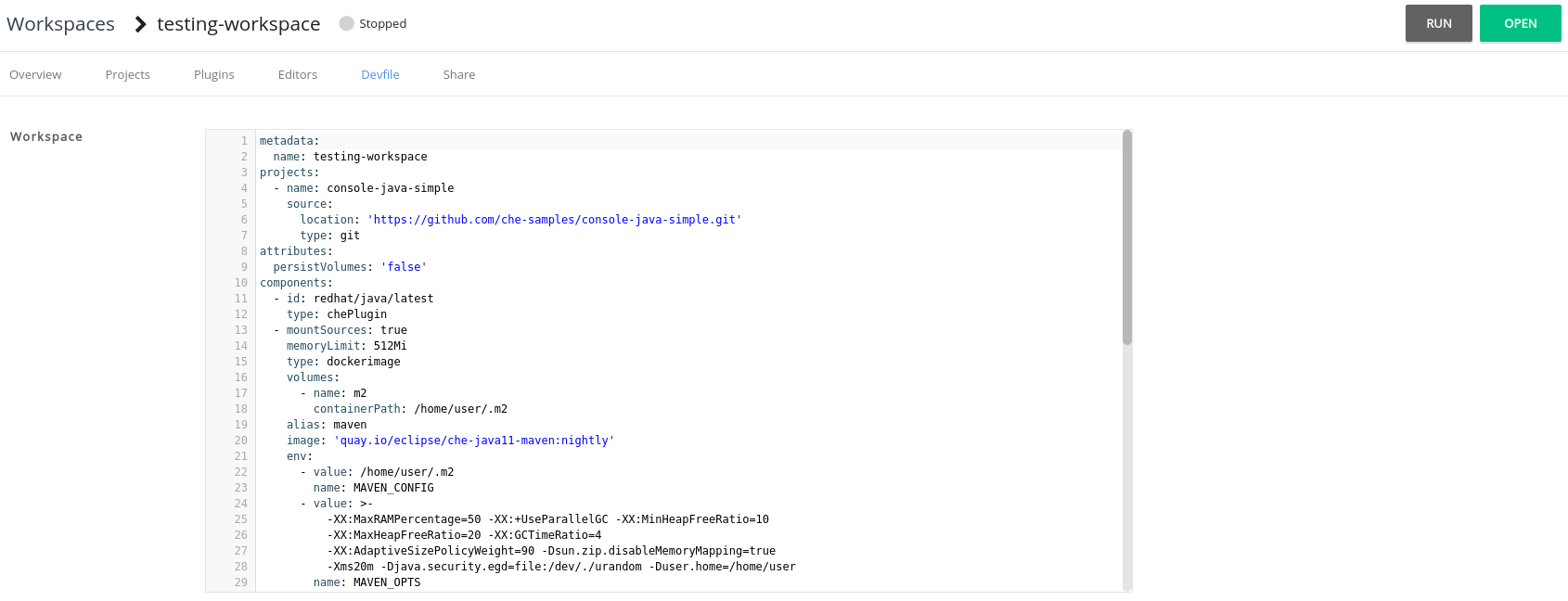 update devfile configuration