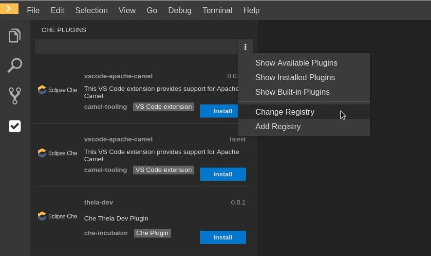 vs code extension change registry