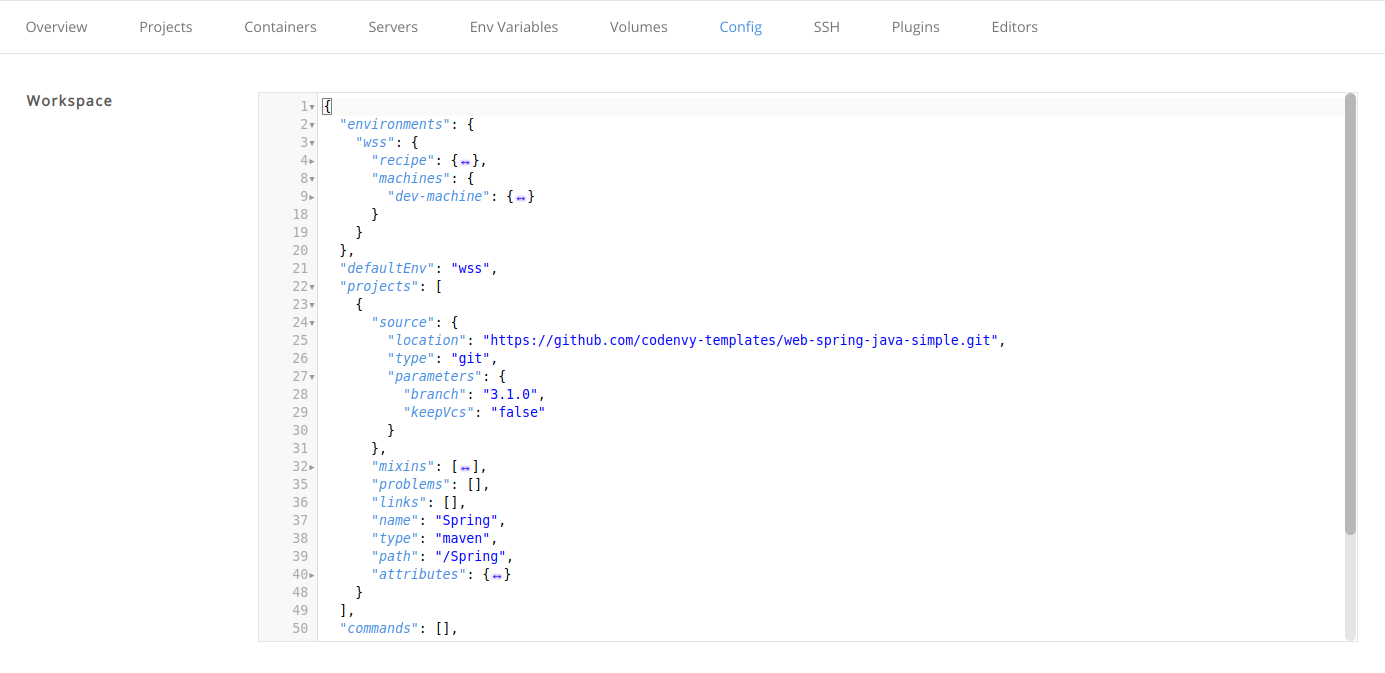 config workspace code